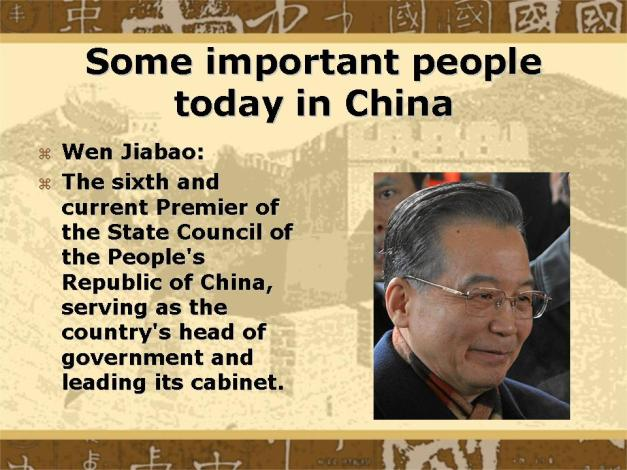 Important People Wen Jiabao